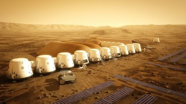 An artist's impression of what the Mars One colony will look like in 2023.