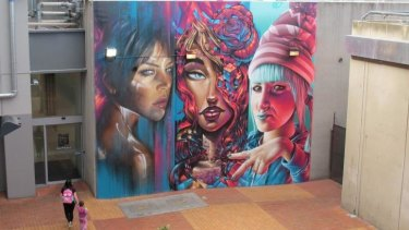 A monumental mural at Northland shopping centre in Preston, featured in Dean Sunshine's book <i>Street Art Now</i>.