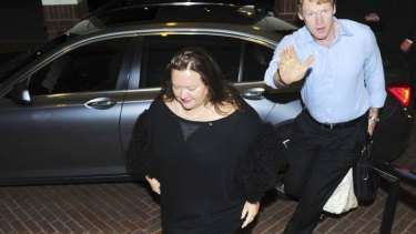 Gina Rinehart arrives at the Hyatt Hotel, Canberra, on Wednesday night.