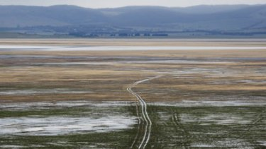 Lake George yesterday ... there may not be enough to go for a dip, but   heavy rain means the lake has some water in it for the first time in eight years.