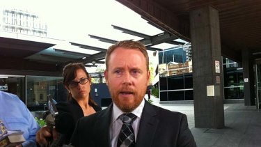 Tim Meehan, the lawyer for Brett Peter Cowan, outside court.