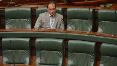 One is the loneliest number: Geoff Shaw in the chamber on Wednesday morning.