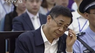Chinese political star Bo Xilai stands trial in the Intermediate People's Court in Jinan, east China's Shandong province.