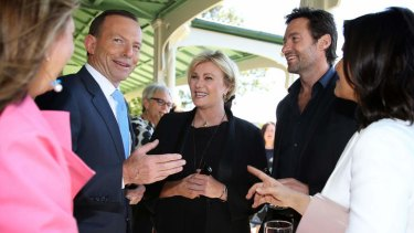 Prime Minister Tony Abbott,  Deborah-Lee Furness and Hugh Jackman at Kirribilli House in Sydney today.