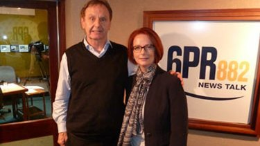 Whoops: this photo, since taken down from the 6PR website, was posted after Howard Sattler's bizarre interview with Julia Gillard on Thursday.