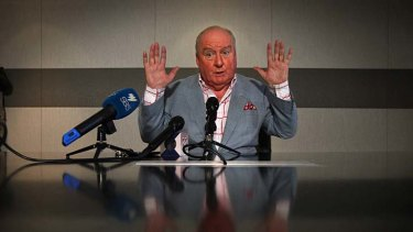 Alan Jones at his press conference yesterday.