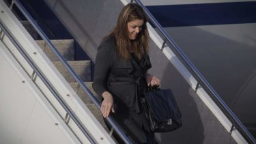 Peta Credlin Chief of Staff to Prime Minister Tony Abbott returns to Canberra at RAAF Fairbairn after attending CHOGM. Photo: Andrew Meares