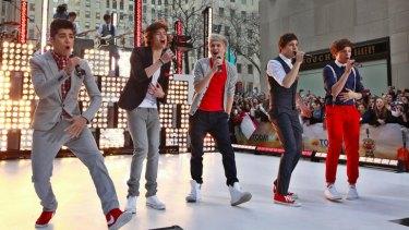 British-Irish band One Direction performing in New York.