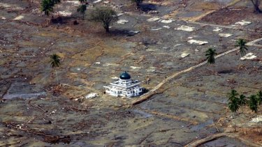 An aerial view shows the devastation around Baiturrahim mosque in Meulaboh town after the tsunami.