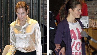 Strain showing... A confident  Amanda Knox fronts court in 2009 dressed in a Beatles 'All You Need is Love' t-shirt that caused a minor scandal, right, in contrast to a more demure appearance at her appeal in May 2011 appeal.