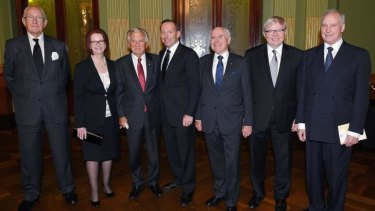 Over in a minute: Prime Minister Tony Abbott (centre) with former Australian prime ministers Malcolm Fraser, Julia Gillard, Bob Hawke, John Howard, Kevin Rudd and Paul Keating, at the completion of the Gough Whitlam memorial service in Sydney.