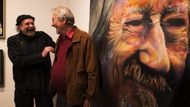 Bruno Jean Grasswill poses with Michael Caton after his portrait of Michael won this year's Packer's Award in the annual Archibald Prize.