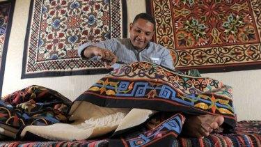 Egyptian tent maker Ekramy Hanafy in action.