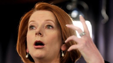 Verging on tears, Prime Minister Julia Gillard made an emotional plea for Australians' trust and for the media not to write ''complete crap''.