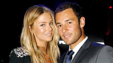 Happy couple: Jennifer Hawkins and Jake Wall.