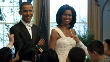 Wax figures of Barack and Michelle Obama at Madame Tussaud's in New York.