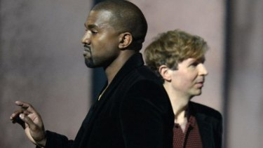 Kanye West's stage invasion during the winner for album of the year announcement at the Grammys.