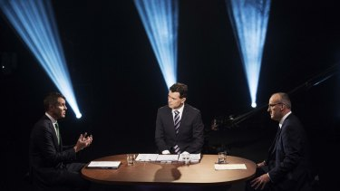 NSW Premier Mike Baird, Channel 7's  Mark Ferguson and Opposition Leader Luke Foley at the second debate on Sunday.