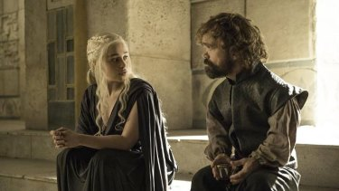 Daenerys Targaryen and Tyrion Lannnister in <i>Game of Thrones</i>.