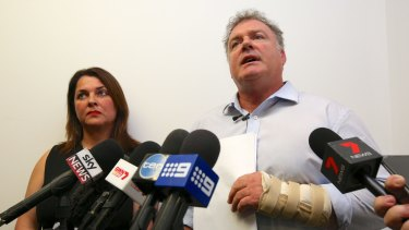 Senator Rod Culleton holds a press conference with his wife Ioanna Culleton - the former One Nation senator was involved in a scuffle outside a Perth court this week.