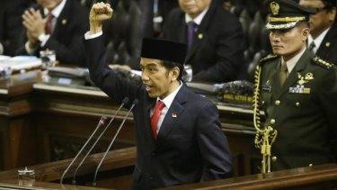 Indonesian President Joko Widodo delivers his speech.