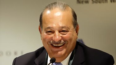 Mexican tycoon Carlos Slim Helu holds a press conference at the Forbes Global CEO conference in Sydney.