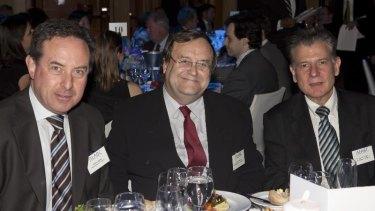 John Knorr, centre, dines with Ambassador of Uruguay Alberto Fajardo (R) and Consulate of Uruguay Alvaro Barba at an Australia-Latin America Business Council dinner in Sydney.