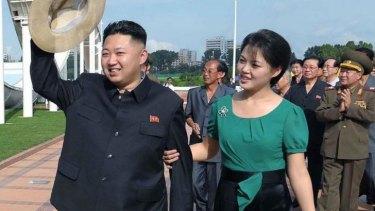 Kim Jong-un and his wife Ri Sol-ju.