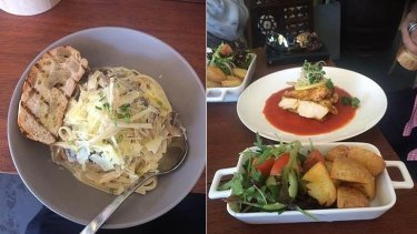 Karl Langdon found the linguine (left) to be excellent, even if he had to go to the bar to order it.
