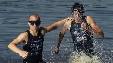 Blind triathlete Jonathan Goerlach, with his racing partner, Canberra's Jack Bigmore.