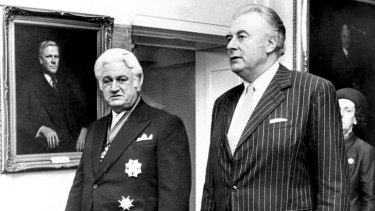 Gough Whitlam saw Sir John Kerr (left), en route to the latter's swearing in, as ''my best appointment''.