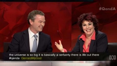 Good humoured ... Christopher Pyne jokes with US comedian Ruby Wax about starting out a colony on another planet on Q&A.