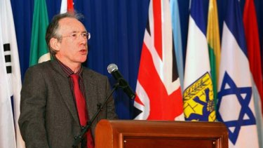 British author Ian McEwan delivers a speech after receiving the 2011 Jerusalem Prize.