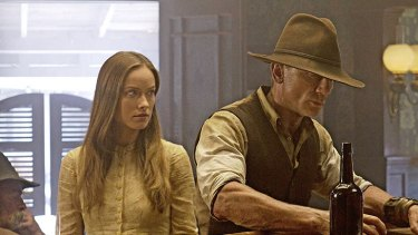 Daniel Craig with Olivia Wilde in 'Cowboys & Aliens'.