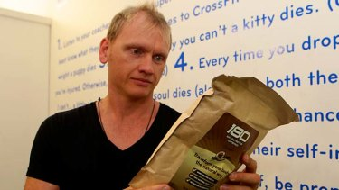 All natural: Guy Lawrence with his own protein powder that he is now shipping to the US and Canada.