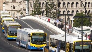Buses queue over Victoria Bridge during peak hour.