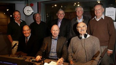 Veteran ABC callers celebrating an AFL heritage round. Geoff Leek, Clarke Hansen, Peter Booth, Doug Wade, Gareth Andrews, Ray Walker and Thorold Merrett. T