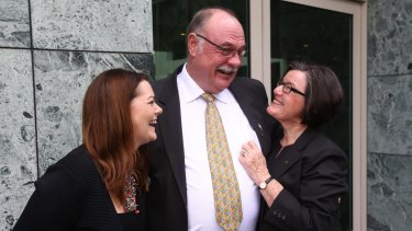 Cathy McGowan (right) with Liberal Warren Entsch and the Greens Sarah Hanson-Young after Mr Entsch introduced a private member's bill on marriage equality last August.