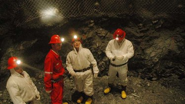 Workers at the Oyu Tolgoi mine.