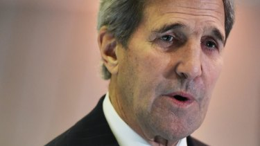 US Secretary of State John Kerry speaks to reporters following a meeting with France's Foreign Minister Laurent Fabius.