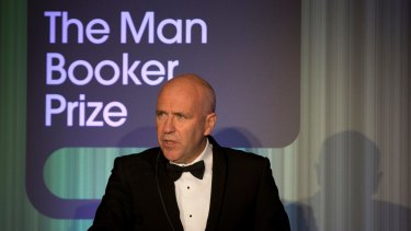 Accepting the 2014 Booker prize.