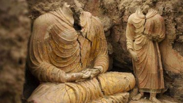 Ancient Buddha statues inside a temple in Mes Aynak, south of Kabul.