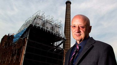 Unlocking the past: Author and comedian Paul Livingston at the former brewery where his grandfather worked.