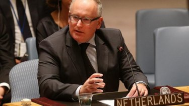 Dutch Foreign Affairs Minister Frans Timmermans speaks during the meeting.