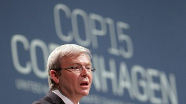 Former prime minister Kevin Rudd at the failed Copenhagen climate summit in 2009.