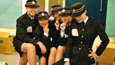 Racy images ... the photographs were uploaded by a 25-year-old policewoman who joined Hong Kong's police force in 2007.