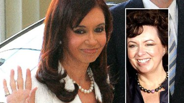 Argentinian leader Cristine Kirchner and, inset, Therese Rein, arrive at Buckingham Palace.