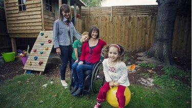 Clare Carlisle Stranger with charges Callum, 6 and Clare, 4, and their mother Julianne Adams.