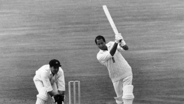 Basil D'Oliveira in action for England at the Kennington Oval, London. The South African-born all-rounder played 44 tests for England.