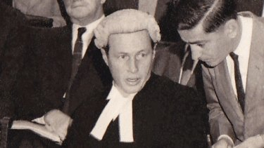 Mervyn Finlay at work as a young barrister.